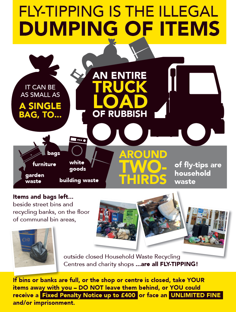 Fly-tipping is the illegal dumping of items image